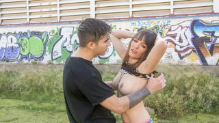 Spanish cutie Natty Mellow takes a hard dick outdoors - Chicas Loca