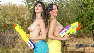 Outdoor double toy lesbian sex with hot Latinas Liz Rainbow & Nerea Falco - Chicas Loca