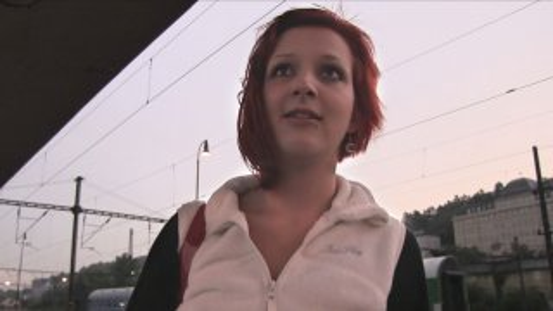 Redhead Gives Sloppy Blowjob And Fucks Stranger - Public Agent