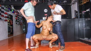 Busty British brunette gets shared by two lucky dudes in hardcore threesome - Chicas Loca